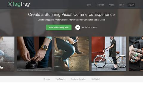 Screenshot of Home Page tagtray.com - TagTray :: Show Curated Photos From Instagram, Facebook, and Twitter On Your Site -- including Magento and Shopify - captured Sept. 22, 2018