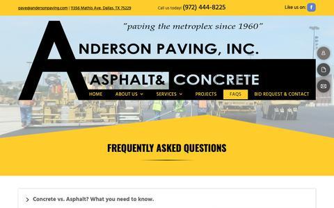 Screenshot of FAQ Page andersonpaving.com - Asphalt Paving Companies   Dallas, TX   Anderson Paving Inc. - captured Oct. 3, 2018