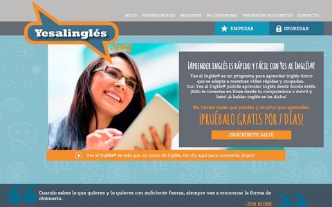 Screenshot of Home Page yesalingles.org - Yes al InglŽs   Yes al InglŽs ¨: Home - captured Jan. 14, 2016