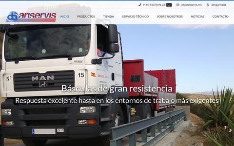 Screenshot of Home Page ariservis.com - Instrumentación de pesaje industrial - Ariservis - captured Oct. 22, 2018