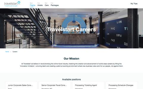 Screenshot of Jobs Page travelstart.co.za - Travelstart Careers - captured March 10, 2018