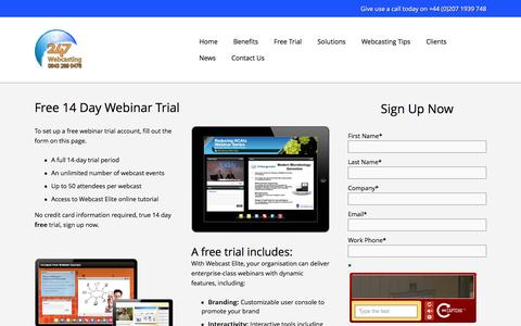 Screenshot of Trial Page 247webcasting.com - Free 14 Day Webinar Trial - Twenty-4 Seven Global Media Limited - captured April 12, 2016