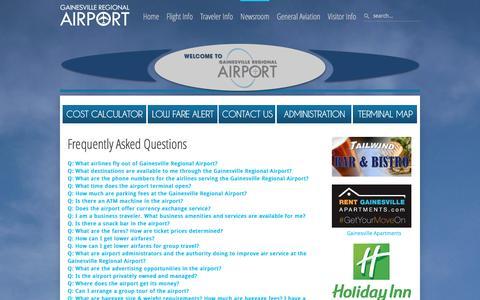 Screenshot of FAQ Page flygainesville.com - Gainesville Regional Airport - FAQs - captured Jan. 25, 2016