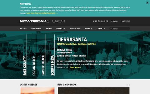 Screenshot of Home Page newbreak.org - Newbreak Church - San Diego, CA - captured Oct. 7, 2014