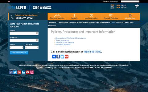 Screenshot of Terms Page stayaspensnowmass.com - Policies, Procedures and Important Information | Stay Aspen Snowmass - captured Nov. 17, 2016