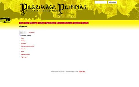 Screenshot of Site Map Page pilgrimagepilipinas.com - Sitemap - Pilgrimage Pilipinas - captured Sept. 29, 2014