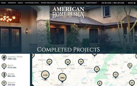 Screenshot of Maps & Directions Page americanhomedesign.com - American Home Design Completed Job Map - captured July 30, 2018