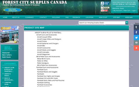 Screenshot of Site Map Page fcsurplus.ca - Forest City Surplus Canada - discount prices - captured Oct. 4, 2018