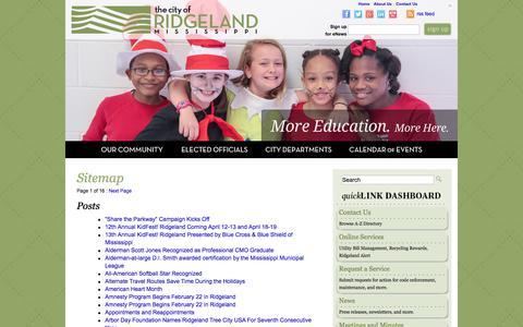 Screenshot of Site Map Page ridgelandms.org - The City of Ridgeland  Sitemap - The City of Ridgeland - captured Aug. 1, 2017
