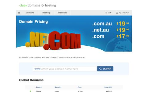 Screenshot of Pricing Page au-domain.com.au - au domain names and web hosting | Cluey domains-hosting | Australian domain name registration and website hosting - captured May 25, 2016