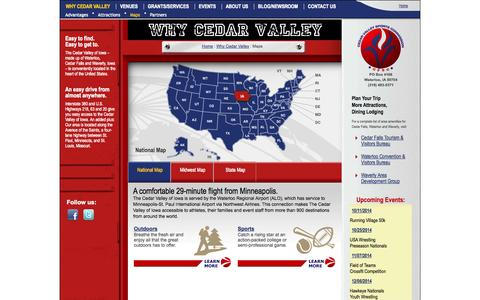 Screenshot of Maps & Directions Page cedarvalleysports.org - Maps | Why Cedar Valley of Iowa | CedarValleySports.org - captured Oct. 2, 2014