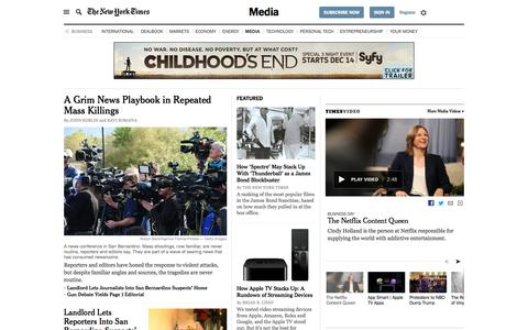 Screenshot of Press Page nytimes.com - Business News - Media and Advertising - The New York Times - captured Dec. 7, 2015