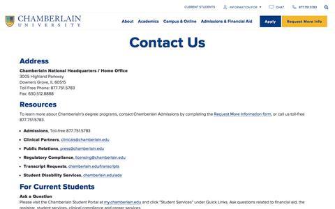 Screenshot of Contact Page chamberlain.edu - Contact Us   Chamberlain University - captured Oct. 11, 2019