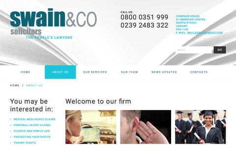 Screenshot of About Page swainandco.com - About Us - Swain & Co Solicitors - Havant/Portsmouth, Southampton, Liverpool - The people's lawyersSwain & Co Solicitors – Havant/Portsmouth, Southampton, Liverpool - captured April 25, 2018