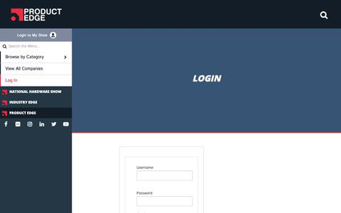 Screenshot of Login Page nationalhardwareshow.com - Login - Industry Edge Product Center - captured Oct. 22, 2018