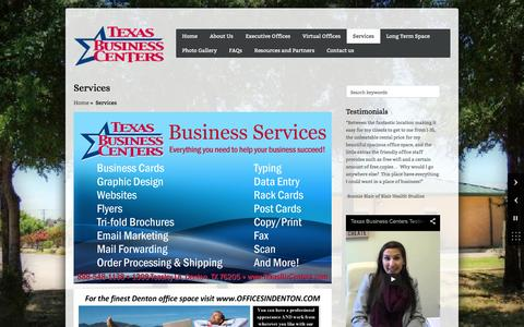 Screenshot of Services Page texasbizcenters.com - ServicesTexas Business Centers | Texas Business Centers - captured Feb. 16, 2016