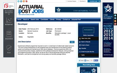 Screenshot of Developers Page actuarialpostjobs.co.uk - Developer, Bermuda, Bolton Associates 3768 - Actuarial Post - captured March 1, 2016
