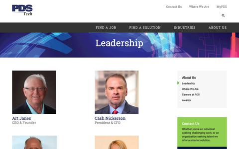 Screenshot of Team Page pdstech.com - Leadership - Talent Acquisition Solutions | PDS Tech - captured Sept. 22, 2018