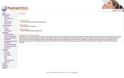 Screenshot of Team Page humanitics.com - Team - Humanitics - captured Oct. 3, 2014