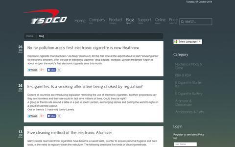 Screenshot of Blog ysoco.com - Blog - Ysoco e cigarette manufacturer - captured Oct. 7, 2014