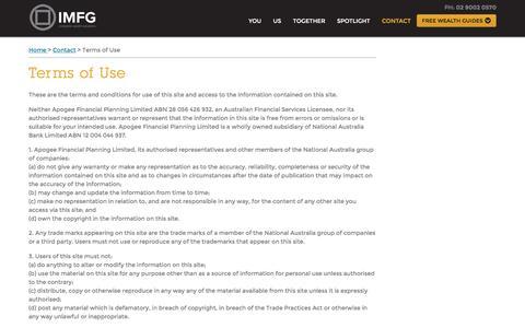 Screenshot of Terms Page imfg.com.au - Terms of Use, Contact, IMFG - captured Nov. 28, 2016