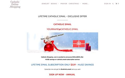 Screenshot of Signup Page catholiconline.shopping - LIFETIME CATHOLIC EMAIL - EXCLUSIVE OFFER - Catholic Online .Shopping - captured Dec. 31, 2016