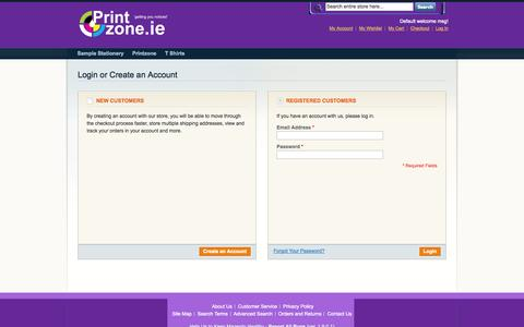 Screenshot of Login Page customprint.ie - Customer Login - captured Sept. 30, 2014