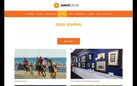 Screenshot of Case Studies Page eventplanet.com.au - Case Studies - Corporate Event Management Company    Event Planet - captured Dec. 10, 2015