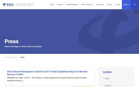 Screenshot of Press Page cteurope.net - Press Archive   China Telecom Europe - captured Sept. 26, 2018