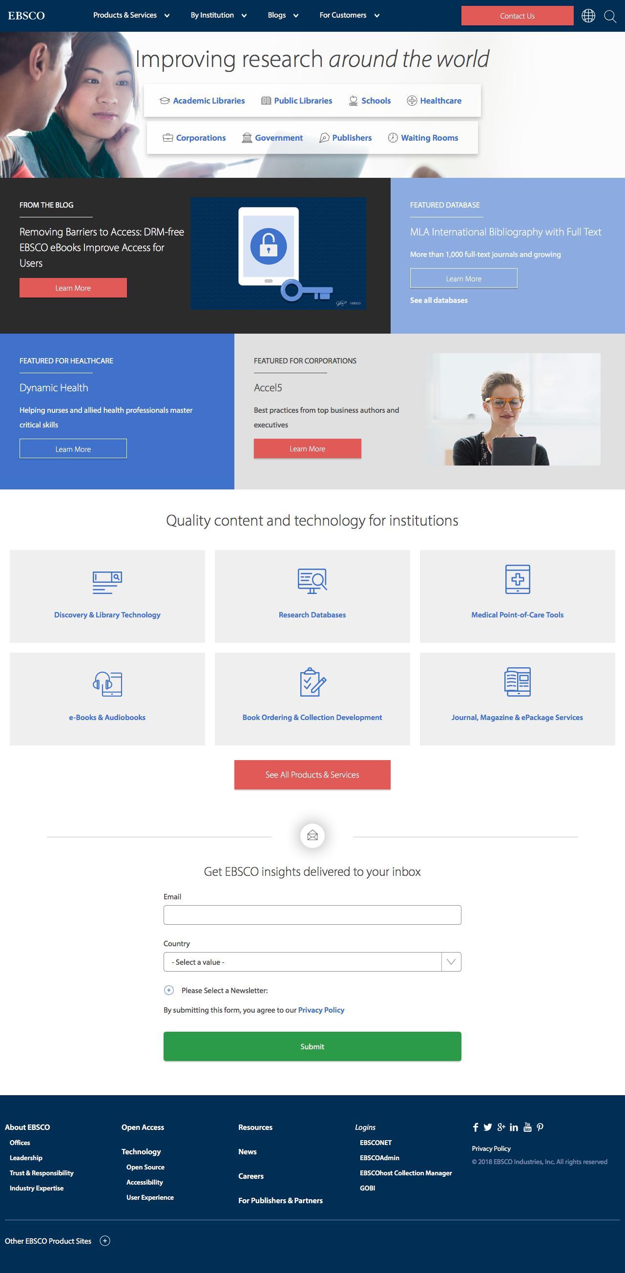 Screenshot of ebsco.com - EBSCO Information Services - captured May 21, 2018