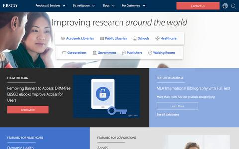 Screenshot of Home Page ebsco.com - EBSCO Information Services - captured May 21, 2018