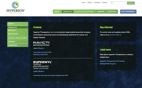 Screenshot of Products Page hyperiontx.com - Our Products and Therapeutics | Hyperion Therapeutics - captured Sept. 16, 2014