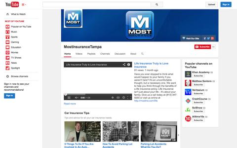 Screenshot of YouTube Page youtube.com - MostInsuranceTampa  - YouTube - captured Nov. 3, 2014