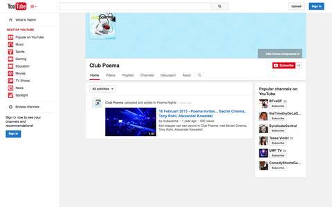 Screenshot of YouTube Page youtube.com - Club Poema  - YouTube - captured Oct. 22, 2014