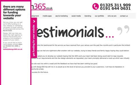 Screenshot of Testimonials Page design365.co.uk - Testimonials - captured Oct. 5, 2014