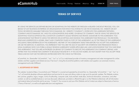 Screenshot of Terms Page ecommhub.com - Terms of Service | eCommHub - captured Oct. 28, 2014
