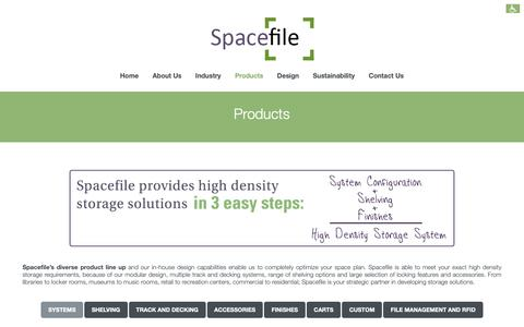 Screenshot of Products Page spacefile.com - Products - Spacefile - captured Oct. 19, 2018