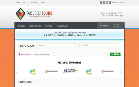 Screenshot of Home Page taxcreditjobs.com - The Tax Credit Industry's Platform - Tax Credit Jobs - captured Sept. 30, 2014