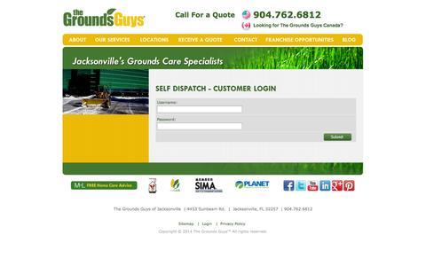 Screenshot of Login Page groundsguys.com - SELF DISPATCH - CUSTOMER LOGIN   Jacksonville - captured Sept. 19, 2014