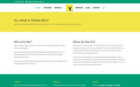 Screenshot of About Page yellowbox.agency - About - Yellow Box. - captured Aug. 18, 2016