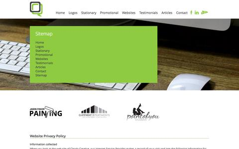 Screenshot of Site Map Page clearlycreative.com.au - Clearly Creative : Business Website and Graphic Design Rockhampton - captured Oct. 2, 2014