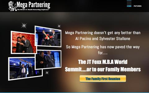 Screenshot of Home Page megapartnering.com - Mega Partnering - JT Foxx, Stallone, Stallone, Schwarzenegger - captured Jan. 22, 2016