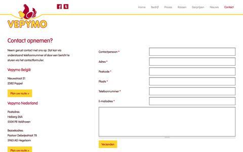 Screenshot of Contact Page vepymo.com - Contact opnemen? | Vepymo - captured June 12, 2017