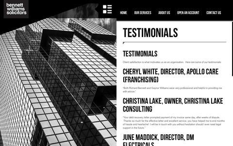 Screenshot of Testimonials Page bennettwilliamssolicitors.com - Testimonials - Bennett Williams Solicitors - captured Aug. 1, 2018