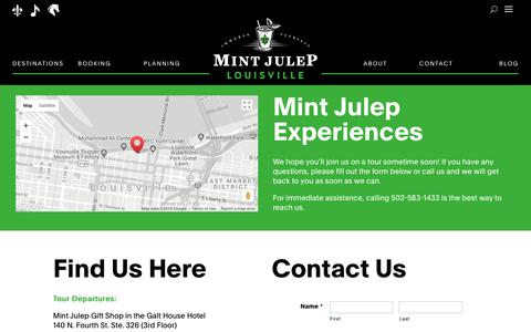Screenshot of Contact Page mintjuleptours.com - Contact One of the Best Tour Companies | Mint Julep Tours - captured Sept. 20, 2018