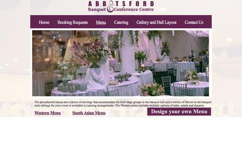 Screenshot of Menu Page abbotsfordbanquet.com - Abbotsford Banquet and Conference Center - Weddings, parties - captured Jan. 22, 2016