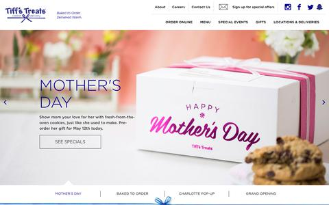 Screenshot of Home Page cookiedelivery.com - Tiff's Treats: Warm, Fresh Baked Cookies Delivered Same-Day - captured May 2, 2019