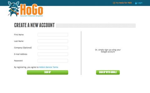 Screenshot of Signup Page Trial Page hogodoc.com captured Oct. 23, 2014