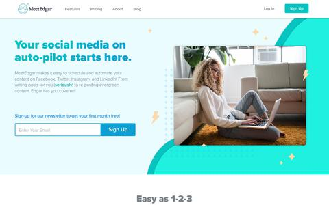 Screenshot of Home Page meetedgar.com - Meet Edgar | The Social Media Scheduling Tool That Manages Itself - captured March 16, 2019