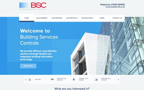 Screenshot of Home Page bsc-ltd.co.uk - Building Services Controls - Home - captured Oct. 1, 2014